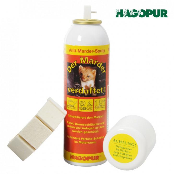 Anti-Marder-Spray - Der Marder verduftet Vergrämmittel von Hagopur mit Duftspeicher gegen Steinmarder Baummarder Wirkstoff für Auto KfZ Dachboden Motor Komposthaufen Garage, 200 ml Marder Spray