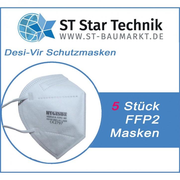 5 Stück Desi-Vir Schutzmasken: FFP2 Mund-Nasen Maske für den persönlichen Schutz, Packung mit 5 Stück Masken
