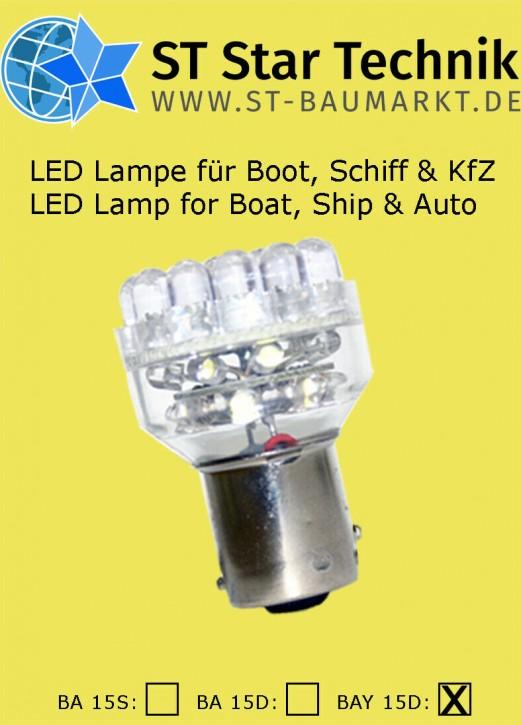 24 Volt Lampe BAY-15D 32 LED Lampeneinsatz f Positionsleuchte BAY15 Schiff Boot