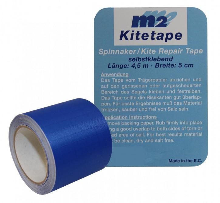 M2 Kitetape - selbstklebendes Spinnaker Reparatur Tape für dünnes Spinnaker Segel Textilien Flicken Band - Nylon 5cm x 4,5 Meter - blau
