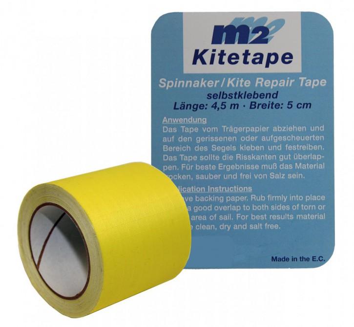 M2 Kitetape - selbstklebendes Spinnaker Reparatur Tape für dünnes Spinnaker Segel Textilien Flicken Band - Nylon 5cm x 4,5 Meter - gelb