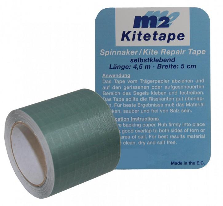 M2 Kitetape - selbstklebendes Spinnaker Reparatur Tape für dünnes Spinnaker Segel Textilien Flicken Band - Nylon 5cm x 4,5 Meter - grau