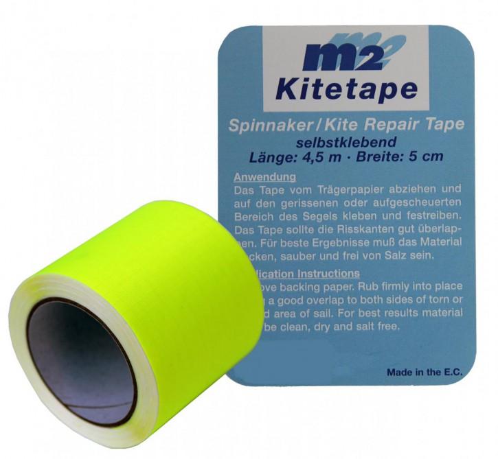 M2 Kitetape - selbstklebendes Spinnaker Reparatur Tape für dünnes Spinnaker Segel Textilien Flicken Band - Nylon 5cm x 4,5 Meter - leucht-gelb