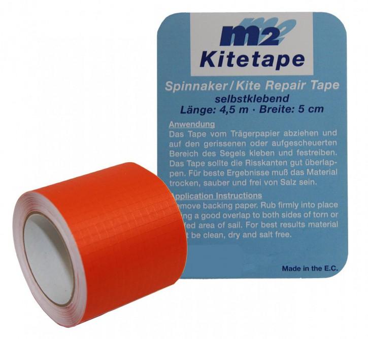 M2 Kitetape - selbstklebendes Spinnaker Reparatur Tape für dünnes Spinnaker Segel Textilien Flicken Band - Nylon 5cm x 4,5 Meter - orange