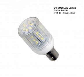 30 SMD IP LED Lampe mit Schutzkapsel, IP65 für BA-15D Sockel.