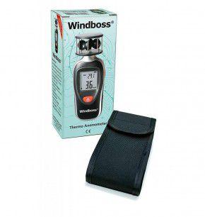 Wind - und Temperaturmesser für Segler, Surfen, Wassersport - Thermometer Anemometer Windmesser Windboss von Canel mit Stativgewinde, Schutztasche, schwarz