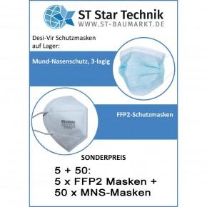 Paketpreis: 5 Stück Desi-Vir FFP2 Masken plus 50 Stück Desi-Vir Mund-Nase-Schutzmasken