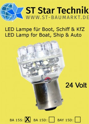 32 LED Lampe BA-15s 24V Leuchte Birne f. Schiff Boot Positionsbeleuchtung BA15s