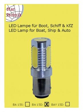 LED Lampe COB Technik: 4- Feld LED COB 6 Watt für Sockel BA15D 12 - 24 Volt