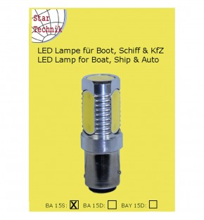 Lampe BA-15s für Positionsleuchten 4- Feld LED COB 6 Watt
