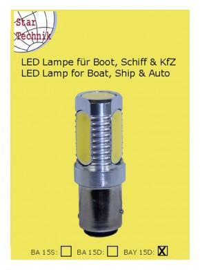 Lampe Leuchte für Position COB Technik 4-Feld LED 6W 12V - 24 Volt BAY-15D weiss