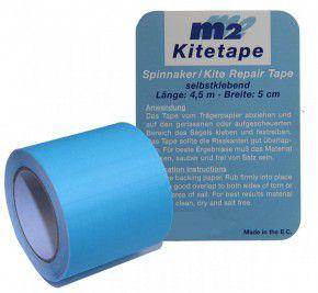 M2 Kitetape - selbstklebendes Spinnaker Reparatur Tape für dünnes Spinnaker Segel Textilien Flicken Band - Nylon 5cm x 4,5 Meter - hellblau