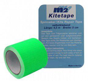 M2 Kitetape - selbstklebendes Spinnaker Reparatur Tape für dünnes Spinnaker Segel Textilien Flicken Band - Nylon 5cm x 4,5 Meter - leucht grün