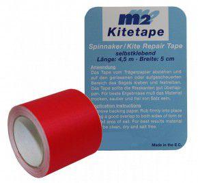 M2 Kitetape - selbstklebendes Spinnaker Reparatur Tape für dünnes Spinnaker Segel Textilien Flicken Band - Nylon 5cm x 4,5 Meter - Rot