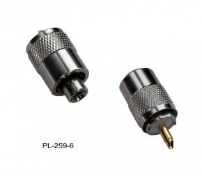 PL-Stecker PL 259/6 für RG-58U RG-58 Koaxkabel mit Goldpin für UKW VHF Antenne