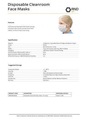 100 Reinraum MNS Masken: ESD Gesichtsmaske mit Ohrschlaufen